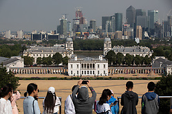 © Licensed to London News Pictures. 27/07/2018. London, UK. People enjoy the hot weather in Greenwich Park. Temperatures in the capital reached over 30 degrees yesterday, as the UK experiences a prolonged heatwave. Thunder and lightning is forecast later today. Photo credit : Tom Nicholson/LNP