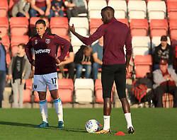 Javier Hernandez of West Ham United warms up - Mandatory by-line: Paul Roberts/JMP - 23/08/2017 - FOOTBALL - LCI Rail Stadium - Cheltenham, England - Cheltenham Town v West Ham United - Carabao Cup