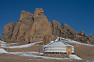 Mongolia. Slylantours, yurts  camp in  for tourists in Terelg  Ulan Baatar/ Terelg camp de yourtes de skylandtours  , pour touristes  Oulan Bator - Mongolie