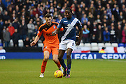 Birmingham City striker Clayton Donaldson holds the ball away from Ipswich Town defender Tommy Smith during the Sky Bet Championship match between Birmingham City and Ipswich Town at St Andrews, Birmingham, England on 23 January 2016. Photo by Alan Franklin.