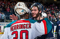 KELOWNA, CANADA - APRIL 30: Michael Herringer #30 of the Kelowna Rockets congratulates Turner Ottenbreit #4 of the Seattle Thunderbirds on the series win on April 30, 2017 at Prospera Place in Kelowna, British Columbia, Canada.  (Photo by Marissa Baecker/Shoot the Breeze)  *** Local Caption ***