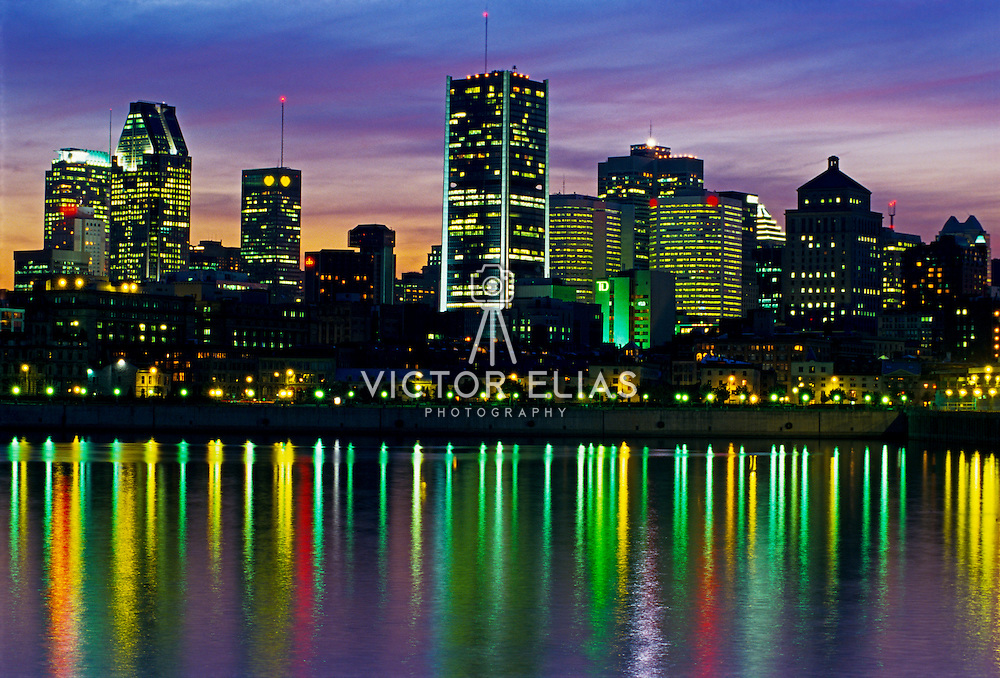 Montreal skyline at night.  Quebec, Canada.