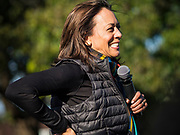 12 OCTOBER 2019 - DES MOINES, IOWA: Senator KAMALA HARRIS (D-CA) speaks to a crowd of about 150 people at a Des Moines block party Saturday. Sen. Harris attended a neighborhood block party in Des Moines as a part of her campaign to be the Democratic nominee for the US presidency in 2020. Iowa traditionally holds the first selection of the presidential election cycle. The Iowa caucuses are Feb. 3, 2020.        PHOTO BY JACK KURTZ