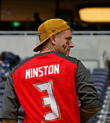 Tampa Bay Buccaneers fans ahead of the NFL International Series game against the Carolina Panthers at Tottenham Hotspur Stadium, Sunday, Oct. 13, 2019, in London.  The Panthers defeated the Buccaneers 37-26. (Gareth Williams/Image of Sport)