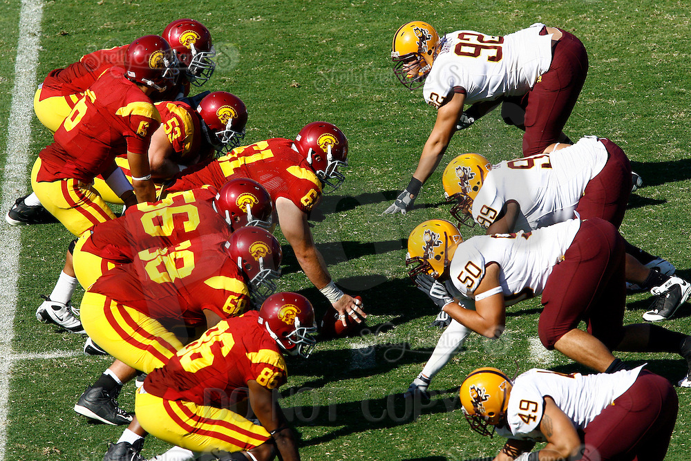 11 October 2008: The offensive line of scrimmage from an  elevated view during the NCAA Pac-10 USC Trojans 28-0 shut-out win over the Arizona State University Sun Devils during a day college football game at the Los Angeles Memorial Coliseum in Southern California.