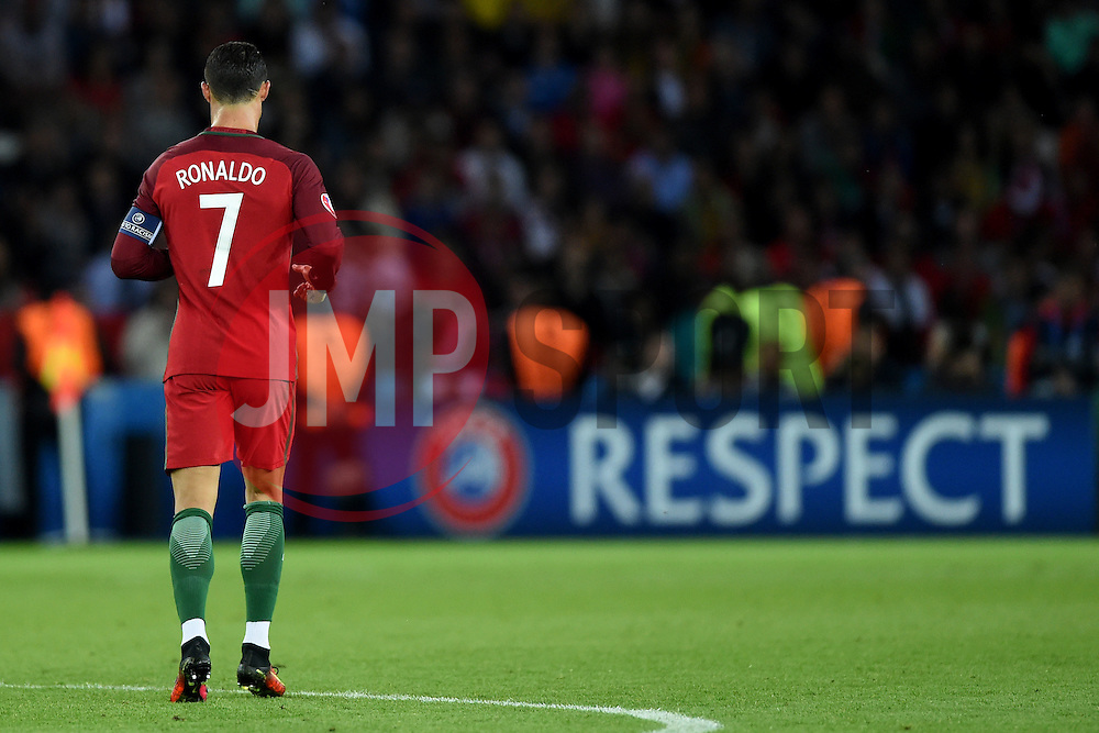 Cristiano Ronaldo of Portugal walk past a UEFA sign that reads RESPECT  - Mandatory by-line: Joe Meredith/JMP - 18/06/2016 - FOOTBALL - Parc des Princes - Paris, France - Portugal v Austria - UEFA European Championship Group F