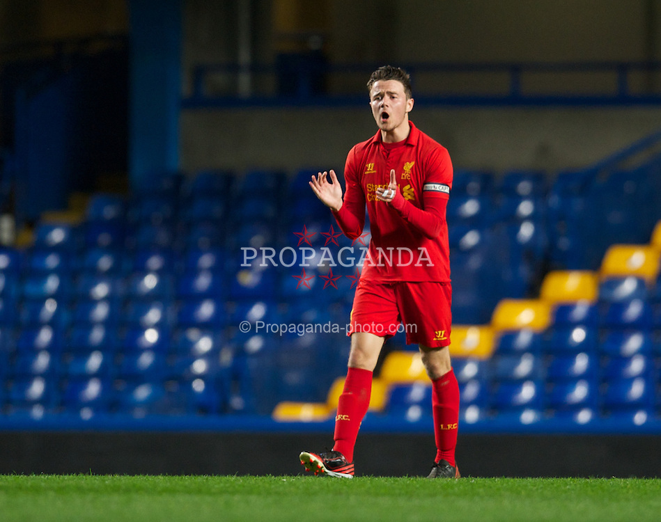 LONDON, ENGLAND - Friday, April 19, 2013: Liverpool's captain Jordan Lussey looks dejected as Chelsea score an equalising goal to level the score 1-1 during the FA Youth Cup Semi-Final 2nd Leg match at Stamford Bridge. (Pic by David Rawcliffe/Propaganda)