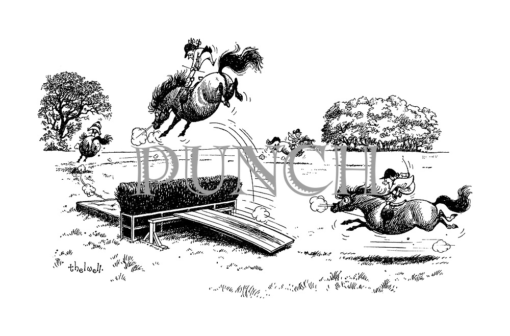 Ponies jumping over jump with springboard and mattress