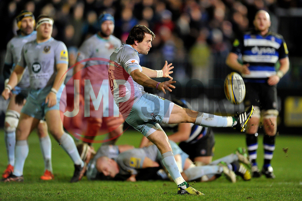 Lee Dickson of Northampton Saints box-kicks the ball - Mandatory byline: Patrick Khachfe/JMP - 07966 386802 - 05/12/2015 - RUGBY UNION - The Recreation Ground - Bath, England - Bath Rugby v Northampton Saints - Aviva Premiership.