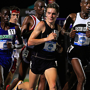 12 JUNE 2008:  LaSalle's  Sean Quigley, center glances back at eventual winner Shadrack Songok, from A&M-CC during the final stages of the men's 10,000 meters at the NCAA Division 1 Men's and Women's Track & Field Championships in Des Moines, Iowa.  Leading with just 3 laps to go is Jacob Korir of E. Kentucky.  David Peterson
