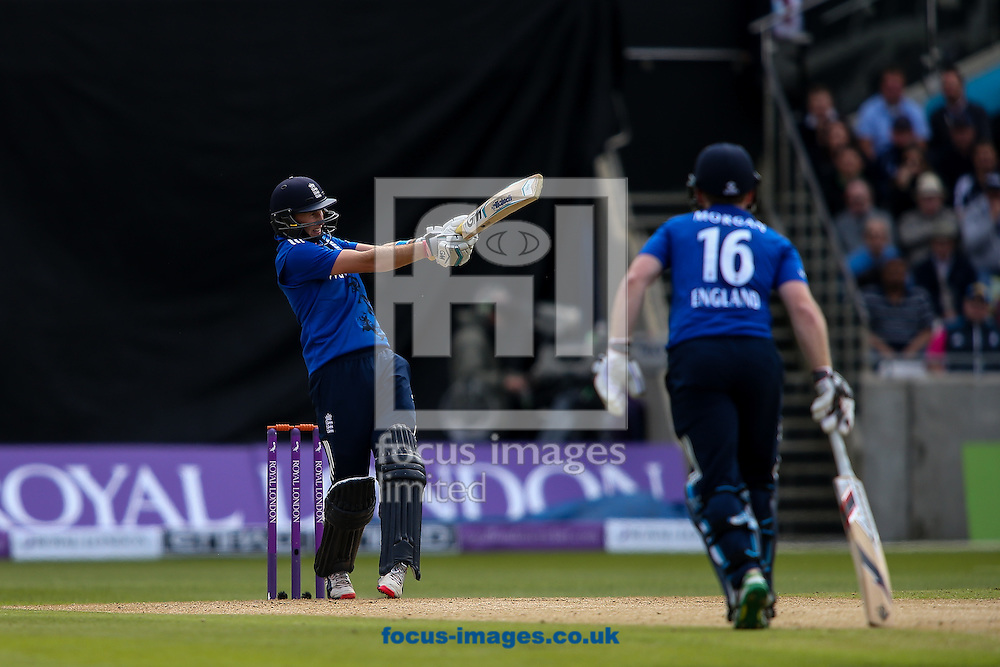 Joe Root of England hits the ball to the leg side during the Royal London One Day Series match at Edgbaston, Birmingham<br /> Picture by Andy Kearns/Focus Images Ltd 0781 864 4264<br /> 09/06/2015