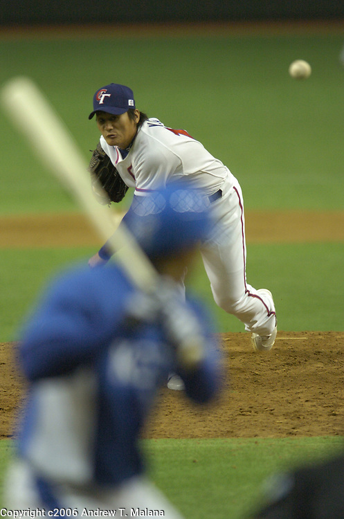 Team Chinese Taipei Ying-Chieh Lin delivers a pitch against Team Korea in the Opening Game of the World Baseball Classic at Tokyo Dome, Tokyo, Japan.
