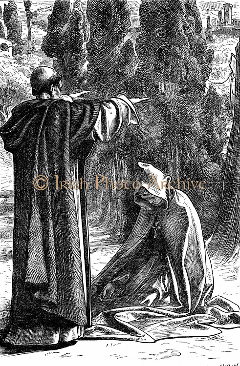 Fra Girolamo commanding Romola not to leave Florence.  Illustration by Frederic, Lord Leighton, for George Eliot 'Romola' published in monthly parts in 'The Cornhill Magazine' London 1862-1863. Wood engraving