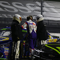 October 29, 2017 - Martinsville, Virginia, USA: Chase Elliott (24) and Denny Hamlin (11) talk with each other after the First Data 500 at Martinsville Speedway in Martinsville, Virginia.