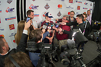 REGINA, SK - MAY 20: Sam Steel #23 of Regina Pats answers questions from media after the game three loss against the Acadie-Bathurst Titan at the Brandt Centre on May 20, 2018 in Regina, Canada. (Photo by Marissa Baecker/CHL Images)