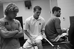 26 May 2007: Duke Blue Devils defenseman Casey Carroll (37) in the locker room before the NCAA semifinals to take on the Cornell Big Red at M&T Bank Stadium in Baltimore, MD.