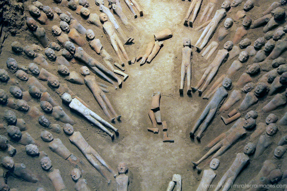 Asia, China, Xian. Pottery figures excavated at the Han Tombs in Xian, discovered in 1990.