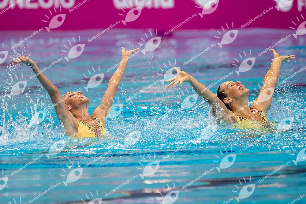 BERNARDOVA Sona  DUFKOVA Alzbeta  CZE<br /> London, Queen Elizabeth II Olympic Park Pool <br /> LEN 2016 European Aquatics Elite Championships <br /> Synchronised Swimming Synchro Duet Tech<br /> Day 06 13-05-2016<br /> Photo Giorgio Scala/Deepbluemedia/Insidefoto