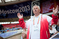 Henryk Olszewski trainer coach of Tomasz Majewski from Poland while men's shot put qualification during the 14th IAAF World Athletics Championships at the Luzhniki stadium in Moscow on August 15, 2013.<br /> <br /> Russian Federation, Moscow, August 15, 2013<br /> <br /> Picture also available in RAW (NEF) or TIFF format on special request.<br /> <br /> For editorial use only. Any commercial or promotional use requires permission.<br /> <br /> Mandatory credit:<br /> Photo by © Adam Nurkiewicz / Mediasport