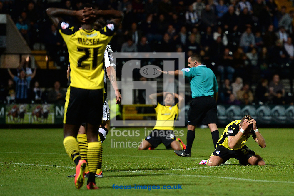 George Moncur of Colchester United can't believe a late chance goes wide during the Sky Bet League 1 match at Meadow Lane, Nottingham<br /> Picture by Richard Blaxall/Focus Images Ltd +44 7853 364624<br /> 19/08/2014