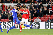 Goal scored by Middlesbrough midfielder Marcus Tavernier (28) during the EFL Sky Bet Championship match between Middlesbrough and Ipswich Town at the Riverside Stadium, Middlesbrough, England on 29 December 2018.