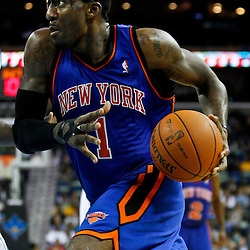December 3, 2010; New Orleans, LA, USA; New York Knicks power forward Amare Stoudemire (1) drives to the basket during the second half against the New Orleans Hornets at the New Orleans Arena. The Knicks defeated the Hornets 100-92. Mandatory Credit: Derick E. Hingle