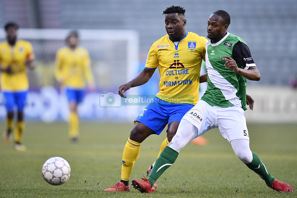 February 17, 2018 - Brussels, BELGIUM - Union's Nathan Kabasele and Cercle's Isaac Kone fight for the ball during a soccer game between Union Saint-Gilloise and Cercle Brugge, in Brussels, Saturday 17 February 2018, on day 27 of the division 1B Proximus League competition of the Belgian soccer championship. BELGA PHOTO YORICK JANSENS (Credit Image: © Yorick Jansens/Belga via ZUMA Press)