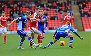 Marley Watkins, Ollie Lancashire during the Sky Bet League 1 match between Barnsley and Rochdale at Oakwell, Barnsley, England on 23 January 2016. Photo by Daniel Youngs.