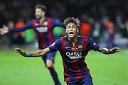 Barcelona Neymar  celebrates his goal during the Champions League Final between Juventus FC and FC Barcelona at the Olympiastadion, Berlin, Germany on 6 June 2015. Photo by Phil Duncan.
