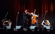 FourPlay String Quartet with special guest Neil Gaiman perform live at the Leicester Square Theatre, London, Great Britain <br /> 5th June 2015 <br /> <br /> LARA GOODRIDGE (VIOLIN & VOCALS)<br /> SHENTON GREGORY AKA SHENZO GREGORIO (VIOLA & VOCALS)<br /> TIM HOLLO (VIOLA & VOCALS)<br /> PETER HOLLO (CELLO & VOCALS)<br /> with Neil Gaiman <br /> <br /> Photograph by Elliott Franks <br /> <br /> Image licensed to Elliott Franks Photography Services