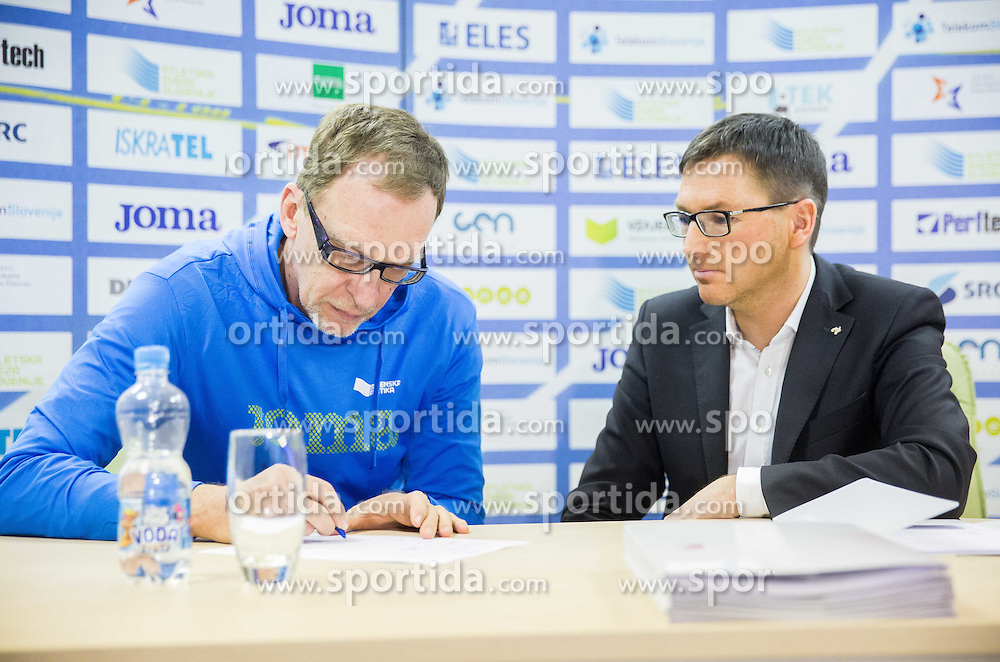 Srdjan Djordjevic and Roman Dobnikar during press conference when Slovenian athletes and their coaches sign contracts with Athletic federation of Slovenia for year 2016, on February 25, 2016 in AZS, Ljubljana, Slovenia. Photo by Vid Ponikvar / Sportida