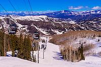 Elk Camp Gondola, Snowmass (Aspen) ski resort, Colorado USA.