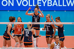 04-08-2019 ITA: FIVB Tokyo Volleyball Qualification 2019 / Netherlands, - Italy Catania<br /> last match pool F in hall Pala Catania between Netherlands - Italy for the Olympic ticket. Italy win 3-0 and take the ticket to the Olympics / (L-R) Anne Buijs #11 of Netherlands, Myrthe Schoot #9 of Netherlands, Britt Bongaerts #12 of Netherlands, Lonneke Sloetjes #10 of Netherlands, Maret Balkestein-Grothues #6 of Netherlands, Anne Buijs #11 of Netherlands