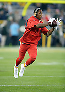 Kansas City Chiefs rookie cornerback Marcus Peters (22) catches a pregame pass before the 2015 NFL week 3 regular season football game against the Green Bay Packers on Monday, Sept. 28, 2015 in Green Bay, Wis. The Packers won the game 38-28. (©Paul Anthony Spinelli)