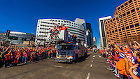 Denver Broncos Derek Wolfe, Antonio Smith, Sylvester Williams and Malik Jackson (defensive linemen), Denver Broncos Super Bowl 50 Victory Parade, Downtown Denver, Colorado USA.