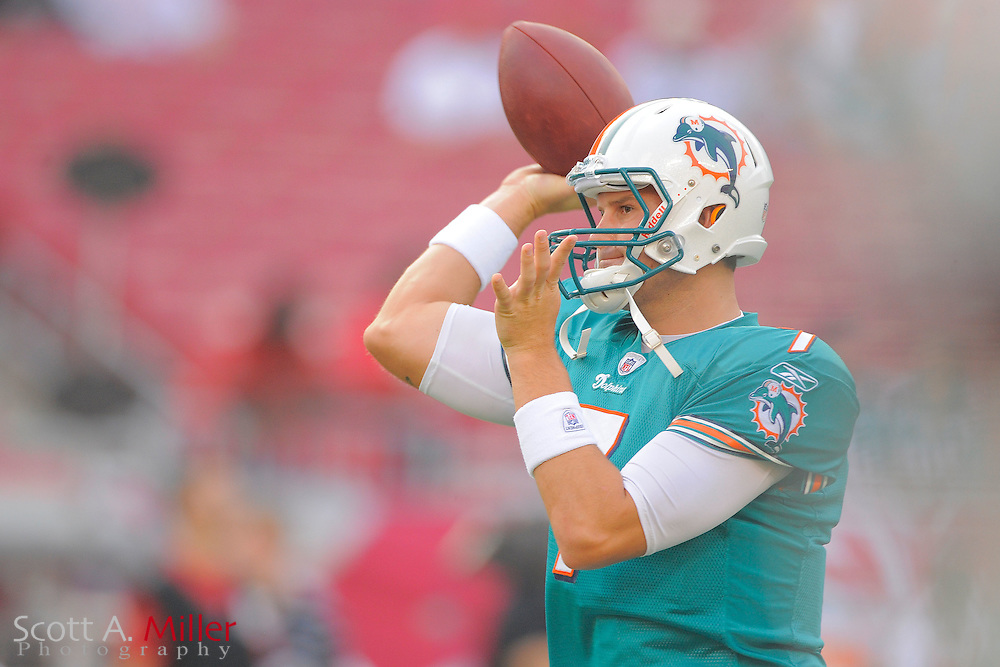 Miami Dolphins quarterback Chad Henne (7) during the Dolphins against the Tampa Bay Buccaneers at Raymond James Stadium on Aug. 27, 2011 in Tampa, Fla...(SPECIAL TO FOX SPORTS.COM/Scott A. Miller)