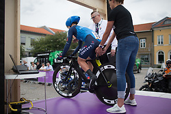 Linda Villumsen (NZL) of Veloconcept Cycling Team rolls of the start ramp during the prologue of the Ladies Tour of Norway - a 3.4 km time trial, starting and finishing in Halden on August 17, 2017, in Ostfold, Norway. (Photo by Balint Hamvas/Velofocus.com)