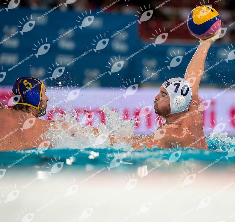 10 Mathieu PEISSON FRA<br /> FINA Men's Water polo Olympic Games Qualifications Tournament 2016<br /> Final 3rd place<br /> France FRA (White) Vs Spain ESP (Blue)<br /> Trieste, Italy - Swimming Pool Bruno Bianchi<br /> Day 08  10-04-2016<br /> Photo G.Scala/Insidefoto/Deepbluemedia
