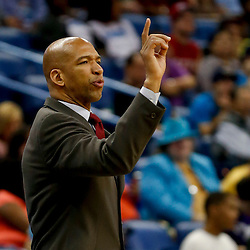 Mar 18, 2013; New Orleans, LA, USA; New Orleans Hornets head coach Monty Williams against the Golden State Warriors during the second quarter a game at the New Orleans Arena Mandatory Credit: Derick E. Hingle-USA TODAY Sports
