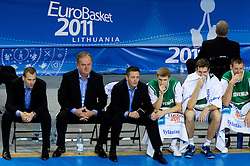 Gasper Potocnik, assistant coach of Slovenia, Bozidar Maljkovic, coach of Slovenia, Aleksander Sekulic, assistant coach of Slovenia, Luka Rupnik of Slovenia, Goran Dragic of Slovenia, Goran Jagodnik of Slovenia during basketball game between National basketball teams of Slovenia and Serbia in 7th place game of FIBA Europe Eurobasket Lithuania 2011, on September 17, 2011, in Arena Zalgirio, Kaunas, Lithuania. Slovenia defeated Serbia 72 - 68 and placed 7th. (Photo by Vid Ponikvar / Sportida)