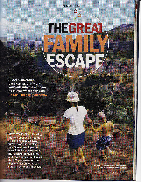 National Geographic Adventure story on great family vacations.