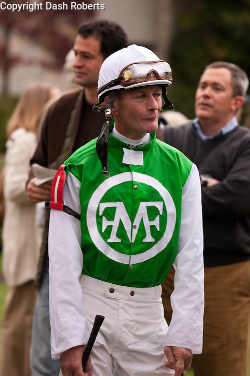 Jockey Calvin Borel awaits his mount in the paddock at Keeneland during the 2009 Fall Meet.Borel has ridden three thoroughbreds to victory in the Kentucky Derby - Street Sense (2007), Mine That Bird (2009), and Super Saver (2010).