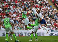 Football - 2018 International Friendly (pre-World Cup warm-up) - England vs. Nigeria<br /> <br /> John Stones (England) rises to head  the ball at Wembley Stadium.<br /> <br /> COLORSPORT/DANIEL BEARHAM