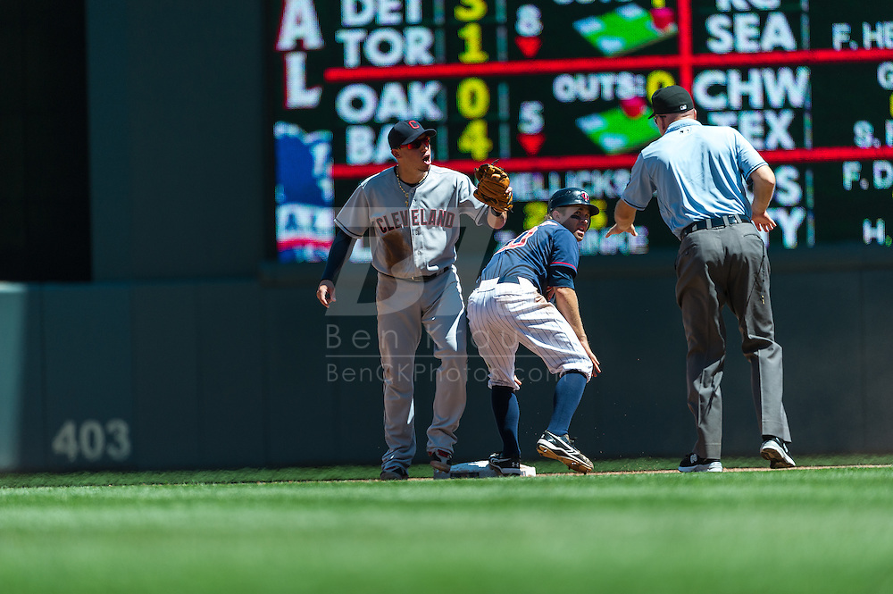 Cleveland Indians shortstop Asdrubal Cabrera argues a call after Minnesota Twins shortstop Brian Dozier was called safe stealing 2nd base by umpire Jeff Nelson at Target Field in Minneapolis, Minnesota on July 29, 2012.  The Twins defeated the Indians 5 to 1.  © 2012 Ben Krause