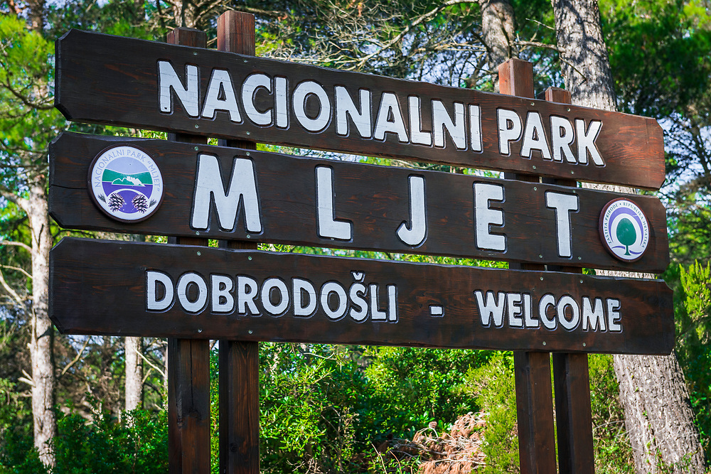 Welcome sign, Mljet Island National Park, Dalmatia, Croatia