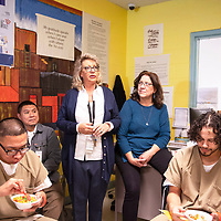 Erika Hayes, the program manager for the substance abuse treatment program at the at the McKinley County Adult Detention Center speaks to the men in the program, Thursday, Jan. 3, 2019 in Gallup during a graduation breakfast celebration.