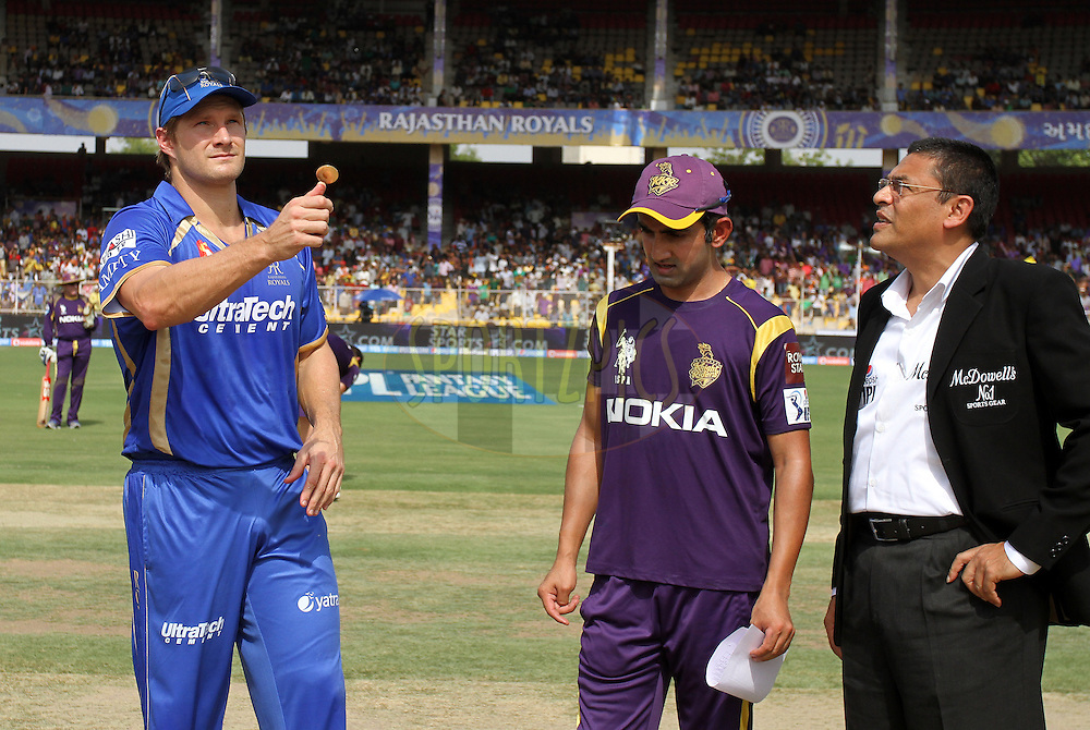 Gautam Gambhir captain of the Kolkata Knight Riders and Shane Watson captain of the Rajasthan Royals during the toss of match 25 of the Pepsi Indian Premier League Season 2014 between the Rajasthan Royals and the Kolkata Knight Riders held at the Sardar Patel Stadium, Ahmedabad, India on the 5th May  2014<br /> <br /> Photo by Vipin Pawar / IPL / SPORTZPICS      <br /> <br /> <br /> <br /> Image use subject to terms and conditions which can be found here:  http://sportzpics.photoshelter.com/gallery/Pepsi-IPL-Image-terms-and-conditions/G00004VW1IVJ.gB0/C0000TScjhBM6ikg
