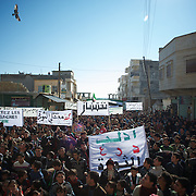 January 20, 2012 - Idleb, Syria: Around two thousand protestors gathered in central Taftanaz to demonstrate against the abuses of the Syrian regime and demanding the resignation of the president Bashar Al-Assad.