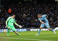 Stevan Jovetic of Manchester City scores the second goal against Sunderland during the Barclays Premier League match at the Etihad Stadium, Manchester.<br /> Picture by Michael Sedgwick/Focus Images Ltd +44 7900 363072<br /> 01/01/2015