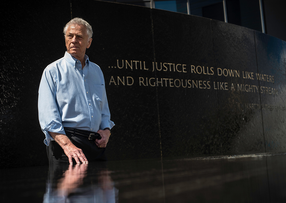 MONTGOMERY, AL -- 5/25/17 -- Even at age 80, Morris Dees still comes into the office daily. The attorney has made a career taking down racist organizations and hate groups over the years, and has created an infrastructure to continue that work well into the future. Dees stands in front of the Civil Rights Memorial, commissioned by the SPLC and dedicated in 1989,<br /> Civil Rights attorney Morris Dees co-founded the Southern Poverty Law Center in 1971. The group has taken on the Ku Klux Klan and fought for against hate for decades, but is now facing criticism that it has labeled some groups without just cause..&hellip;by Andr&eacute; Chung #_AC29889